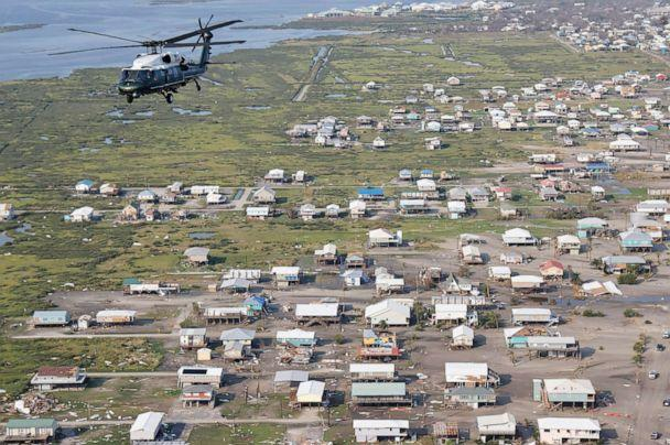 PHOTO: President Joe Biden, aboard the Marine One helicopter, inspects the damage from Hurricane Ida on an aerial tour of communities in Laffite, Grand Isle, Port Fourchon and Lafourche Parish, La., September 3, 2021. (Jonathan Ernst/POOL/AFP via Getty Images)