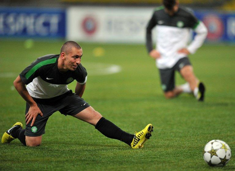 Celtic's Scott Brown, pictured during a training session in Moscow, on October 1, 2012