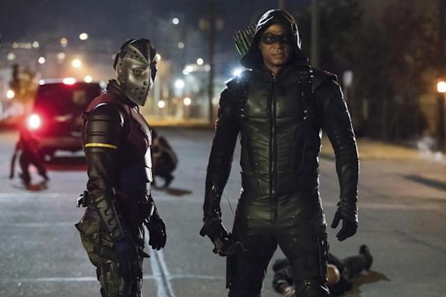 Rick Gonzalez as Rene Ramirez/Wild Dog and David Ramsey as Green Arrow (Photo: Jack Rowand/The CW)