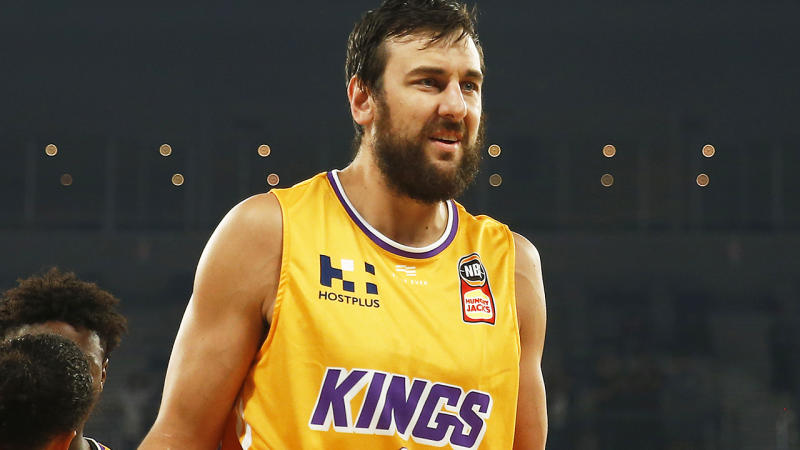 Andrew Bogut, pictured here in action for the Sydney Kings in the NBL finals.