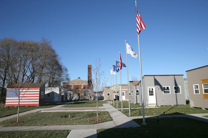 """Fifteen """"tiny homes"""" for homeless veterans opened in Racine in 2017. A similar development, with up to 48 homes, is planned for Milwaukee."""