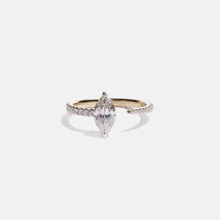 """Marquise cuts are Ceremony's most popular stone shape, according Nicholson. It's one you can find across the bridal jewelry market too. $4800, KatKim. <a href=""""https://katkimfinejewelry.com/collections/engagement-rings/products/marquise-crescendo-pave-ring"""" rel=""""nofollow noopener"""" target=""""_blank"""" data-ylk=""""slk:Get it now!"""" class=""""link rapid-noclick-resp"""">Get it now!</a>"""