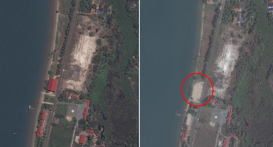 The Ream Naval base on December 19, 2020, after US and Australian backed facilities were demolished. Source: Maxar/Asia Maritime Transparency Initiative