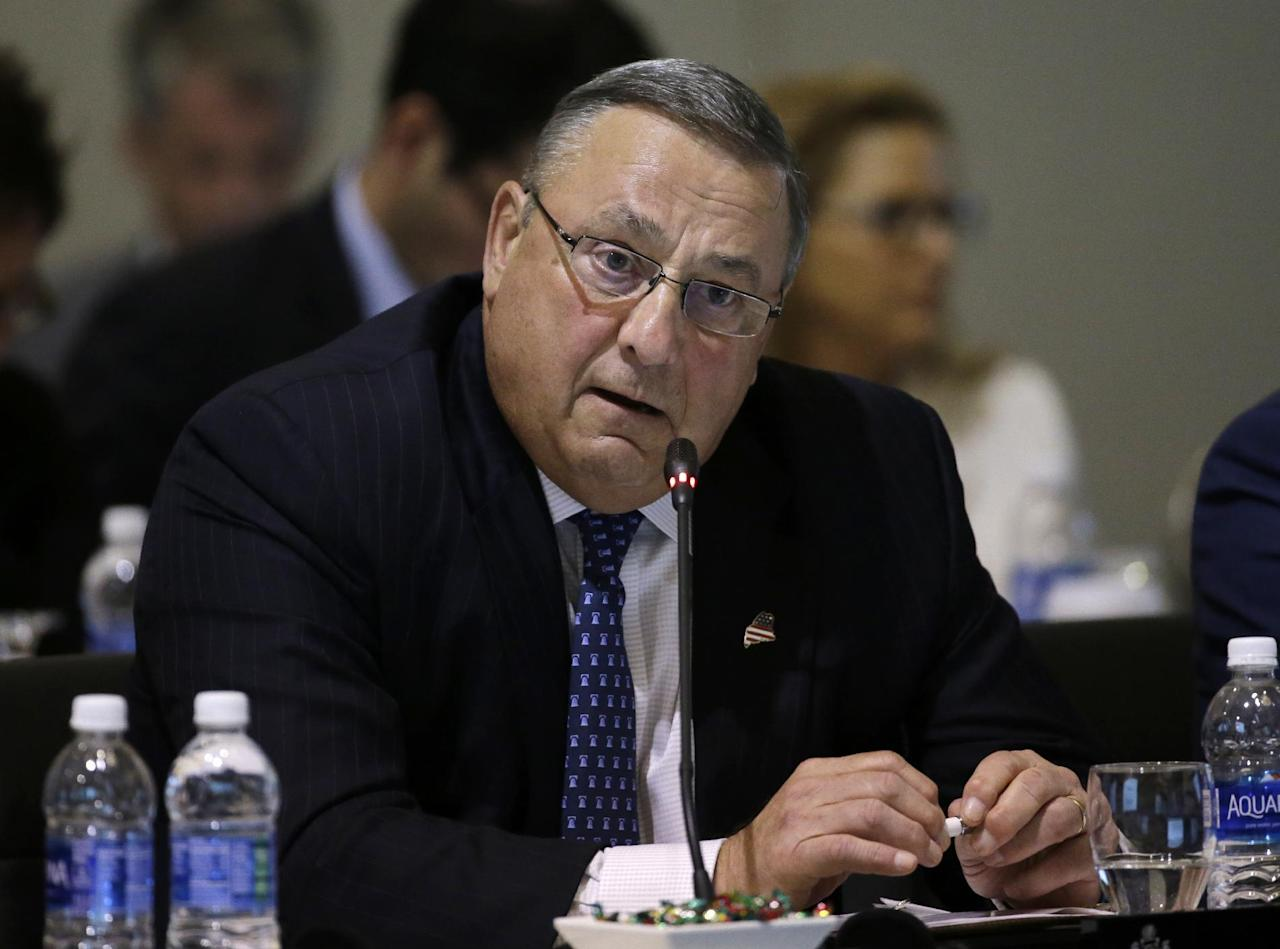 Maine Gov. Paul LePage speaks during a conference of New England's governors and eastern Canada's premiers to discuss closer regional collaboration, Monday, Aug. 29, 2016, in Boston. (AP Photo/Elise Amendola)