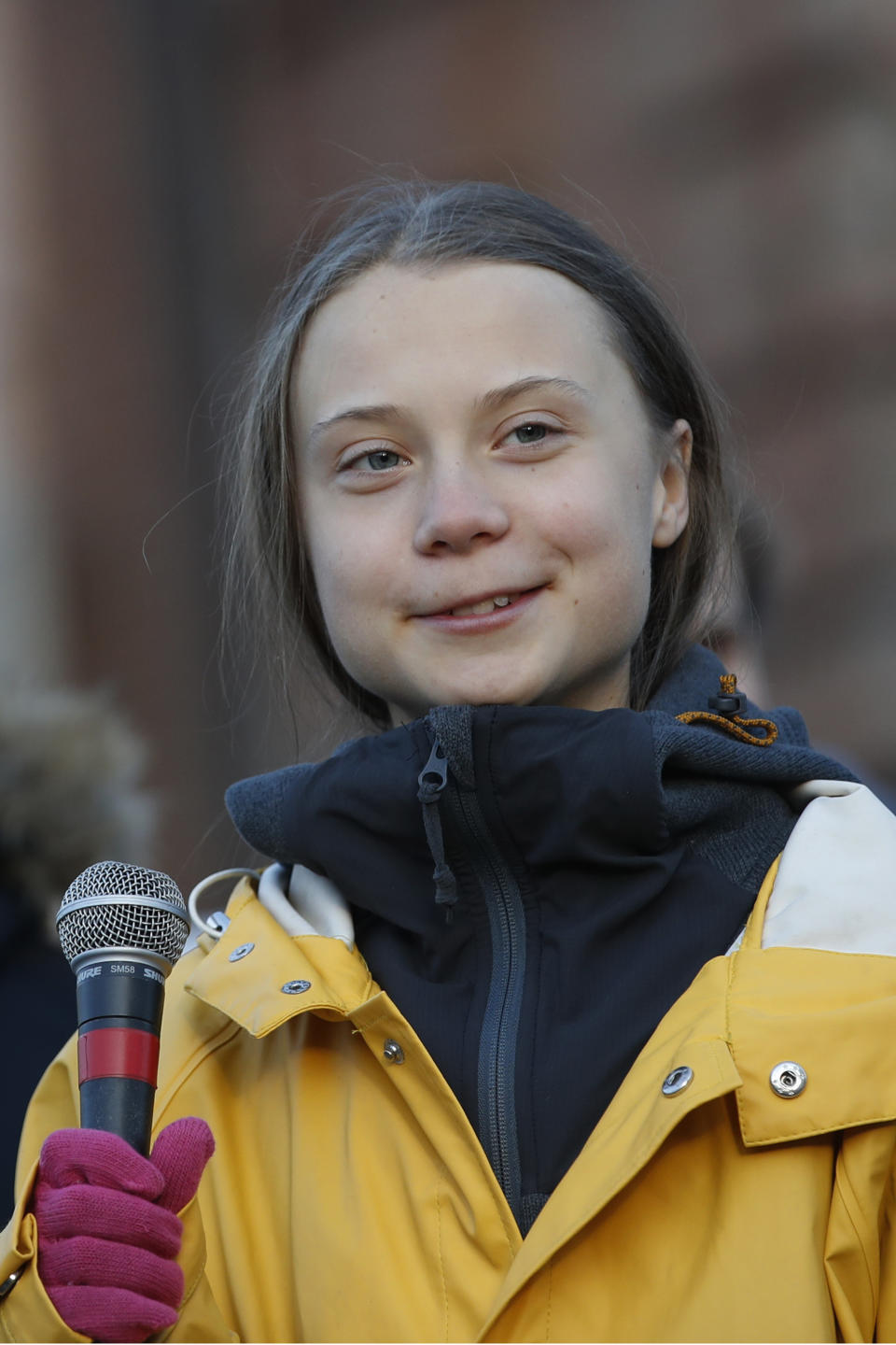 Swedish environmental activist Greta Thunberg attends a climate march, in Turin, Italy, Friday. Dec. 13, 2019. (AP Photo/Antonio Calanni)