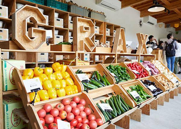 ▲ Boxes of tomatoes, cucumbers, peppers, zucchini, and other fresh vegetables such as new onions and mushrooms.