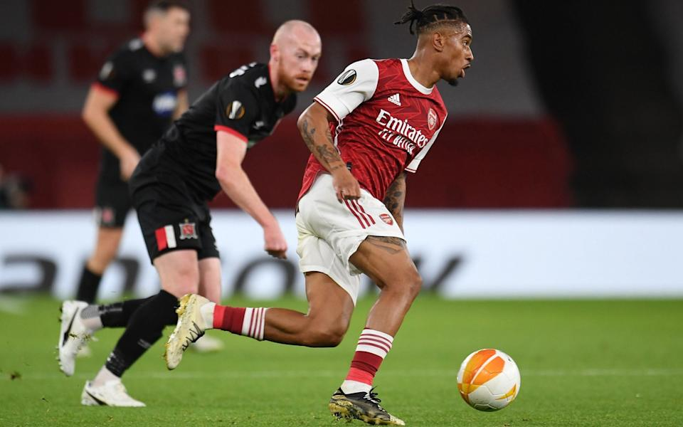 Mandatory Credit: Photo by Andy Rain/EPA-EFE/Shutterstock (10983790k) Reiss Nelson of Arsenal in action during the UEFA Europa League group B match between Arsenal London and Dundalk in London, Britain, 29 October 2020. Arsenal London vs Dundalk, United Kingdom - Andy Rain/EPA-EFE/Shutterstock