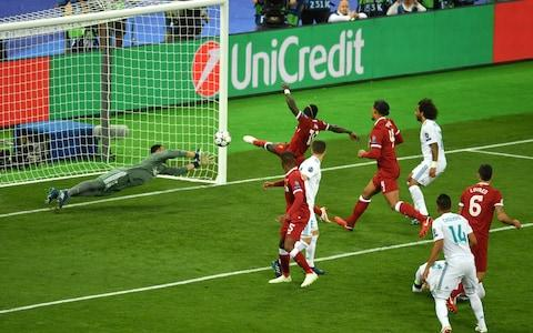 Mane makes it 1-1 with a balletic leaping volley - Credit: Mike Hewitt/Getty Images
