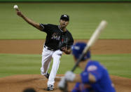 Miami Marlins' Sandy Alcantara delivers a pitch to New York Mets' Michael Conforto during the first inning of a baseball game Friday, June 29, 2018, in Miami. (AP Photo/Wilfredo Lee)