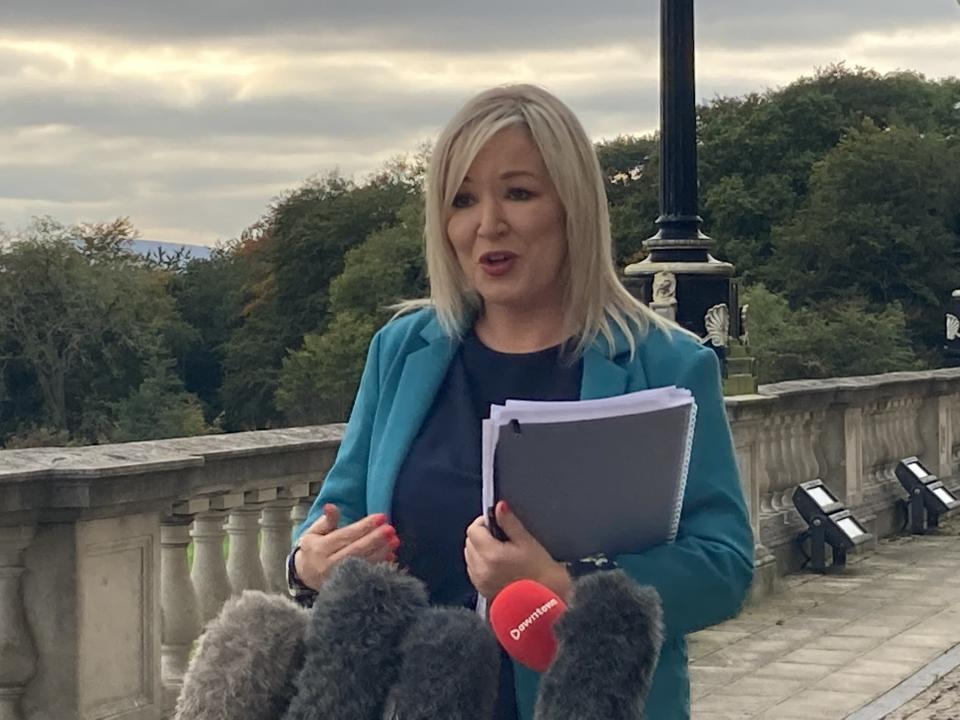 Sinn Fein vice president Michelle O'Neill speaks to reporters at Stormont (Rebecca Black/PA)