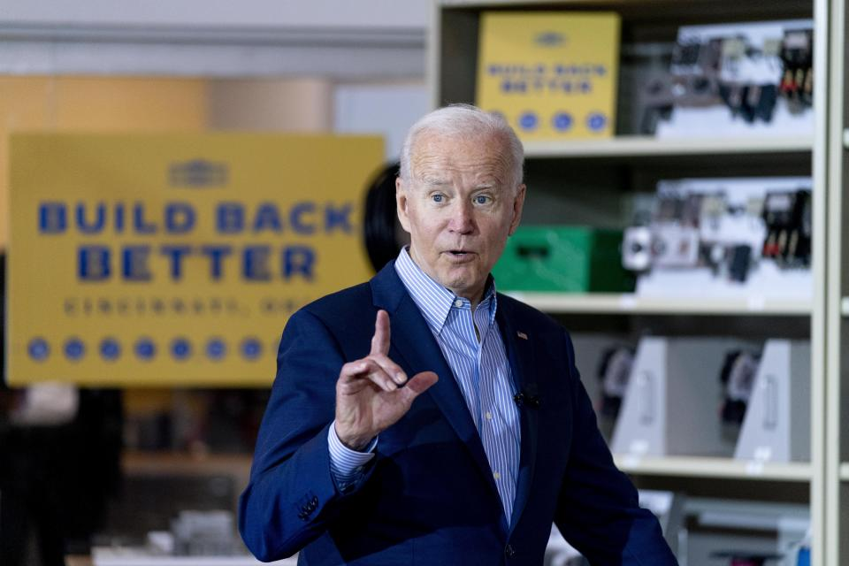 President Joe Biden speaks while meeting with an instructor and an apprentice in a classroom at the IBEW / NECA Electrical Training Center in Cincinnati, Wednesday, July 21, 2021. (AP Photo/Andrew Harnik)