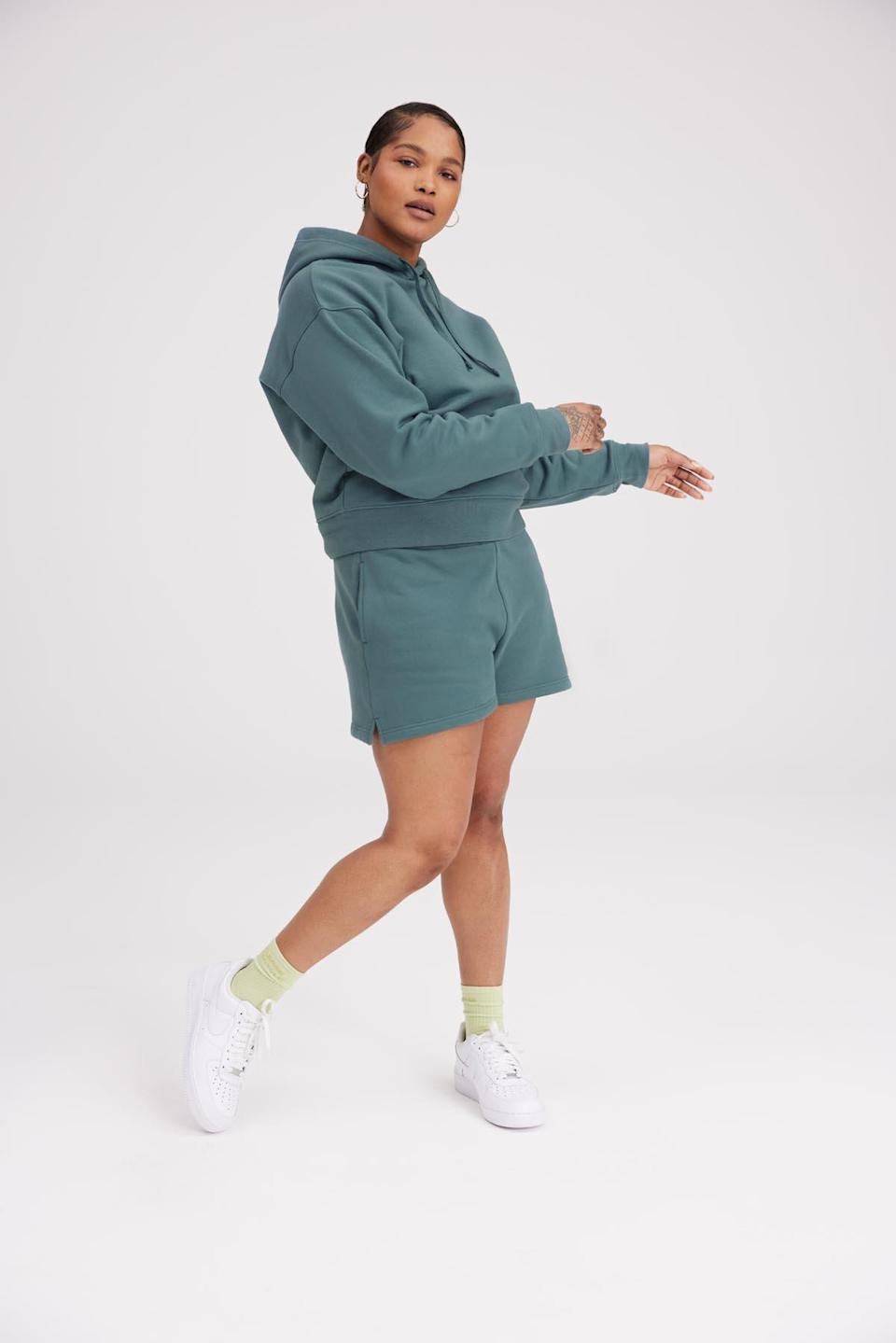 "Girlfriend Collective can't keep these shorts in stock, so grab a pair while you still can. The teal hue is on-point for spring—imagine how cute you'd look posing next to a cherry blossom tree. $52, Girlfriend Collective. <a href=""https://www.girlfriend.com/collections/sweatsuits/products/lagoon-classic-sweat-short?variant=39255781703743"" rel=""nofollow noopener"" target=""_blank"" data-ylk=""slk:Get it now!"" class=""link rapid-noclick-resp"">Get it now!</a>"