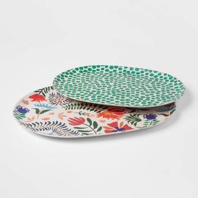 <p>This <span>Bamboo Melamine Floral Serving Platter (Set of 2)</span> ($15) is a great summer pick.</p>