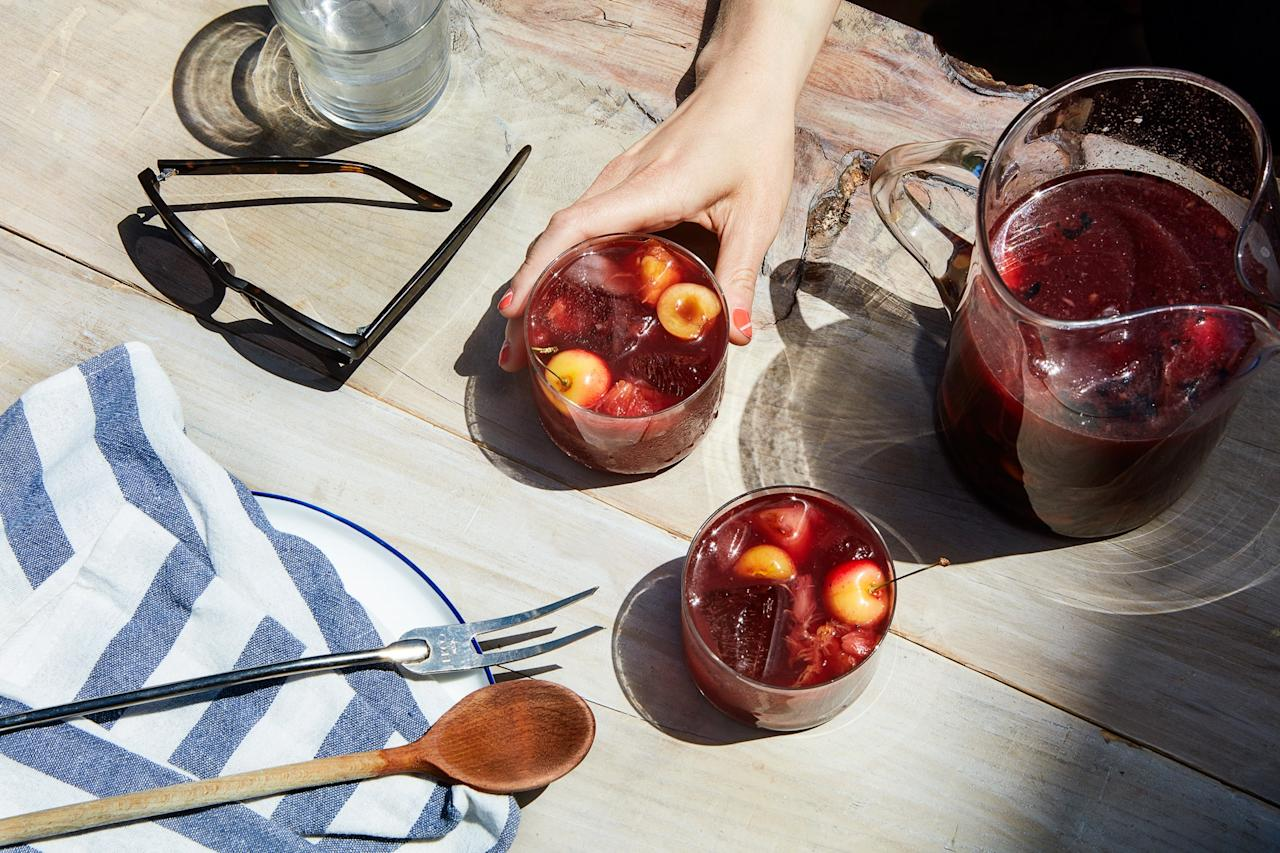"Sangria doesn't have to be a sugary mess. Grilled stone fruit adds a natural caramelized sweetness to this refreshing drink. <a href=""https://www.epicurious.com/recipes/food/views/grilled-stone-fruit-sangria?mbid=synd_yahoo_rss"">See recipe.</a>"