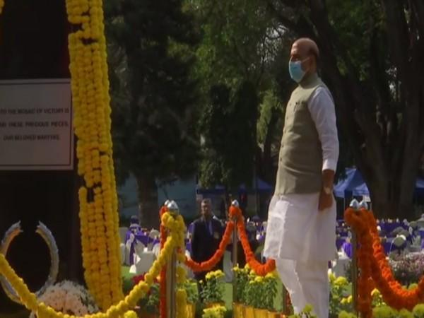 Defence Minister Rajnath Singh attending the 'Veterans Day' celebrations in Bengaluru on Thursday. (Photo/ANI)
