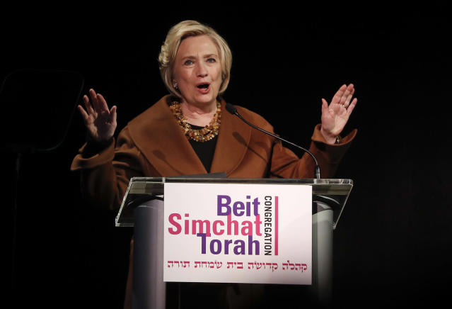 Former Secretary of State Hillary Clinton speaks during a benefit to celebrate the 25th anniversary of Rabbi Sharon Kleinbaum of Congregation Beit Simchat Torah, Monday, Dec. 4, 2017, in New York. (Photo: AP/Julie Jacobson)