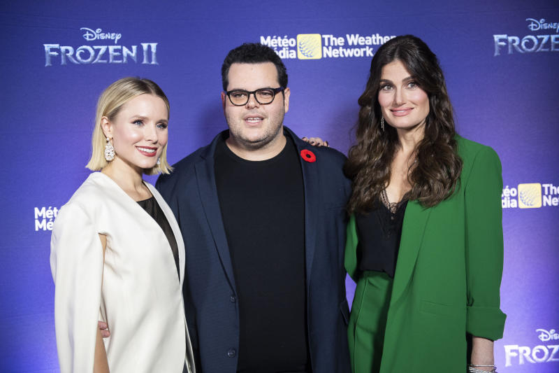 "From left, actors Kristen Bell, Josh Gad and Idina Menzel pose during the ""Frozen 2"" photo call on Monday, Nov. 4, 2019, in Toronto. (Photo by Arthur Mola/Invision/AP)"