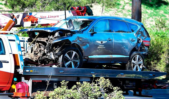 <p>No evidence of drugs or alcohol involved in Tiger Woods crash say police</p> (Photo by FREDERIC J. BROWN/AFP via Getty Images)