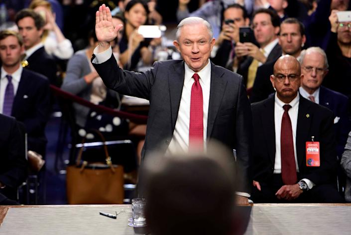 U.S. Attorney General Jeff Sessions is sworn in to testify before a Senate Intelligence Committee hearing on Capitol Hill on June 13, 2017.