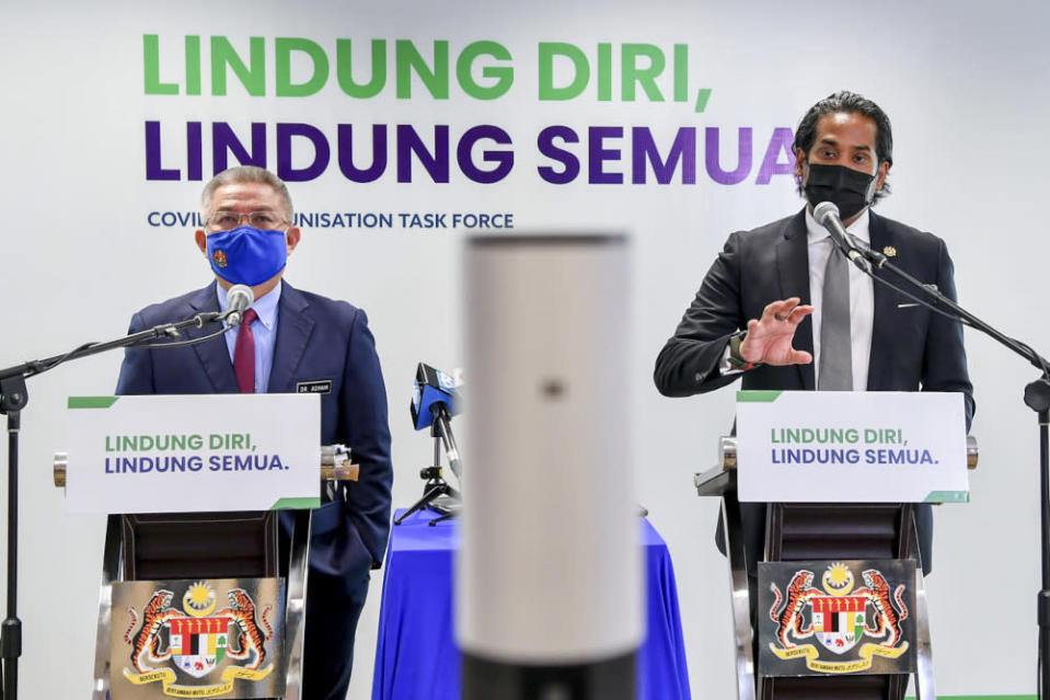 Khairy Jamaluddin, who leads the National Covid-19 Immunisation Programme (NIP) in a joint press conference with Health Minister Datuk Seri Dr Adham Baba, in Putrajaya, April 19, 2021. — Bernama pic