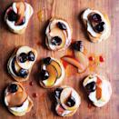 """The combination of creamy ricotta, sweet fruit, rich olive oil, and a little salt makes for an excellent snack, or breakfast, or dessert. <a href=""""https://www.epicurious.com/recipes/food/views/cherry-and-plum-bruschetta-51169500?mbid=synd_yahoo_rss"""" rel=""""nofollow noopener"""" target=""""_blank"""" data-ylk=""""slk:See recipe."""" class=""""link rapid-noclick-resp"""">See recipe.</a>"""