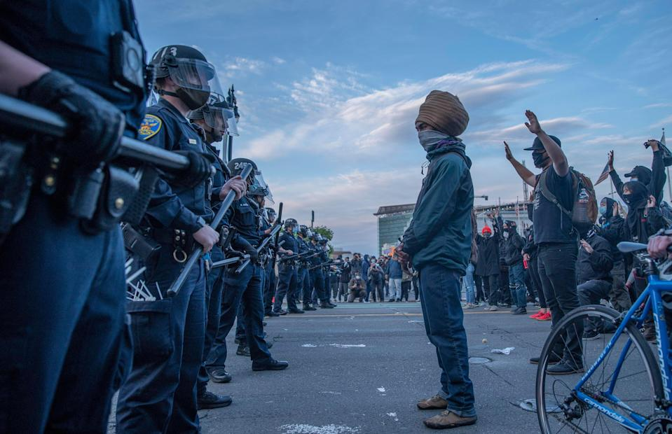 The scene at a May 31, 2020, San Francisco protest against the death of George Floyd at the hands of police