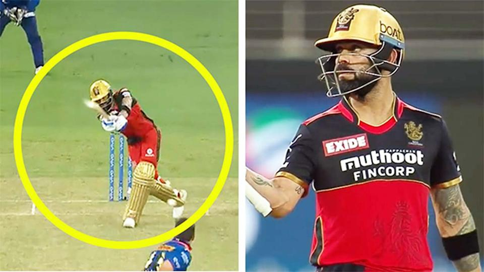 Virat Kohli (pictured right) celebrating his half century and (pictured left) hitting a shot.
