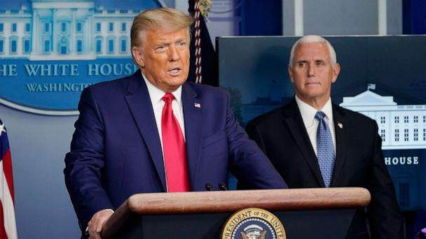 PHOTO: President Donald Trump speaks in the Brady Briefing Room in the White House, Nov. 24, 2020, in Washington as Vice President Mike Pence looks on. (Susan Walsh/AP, FILE)