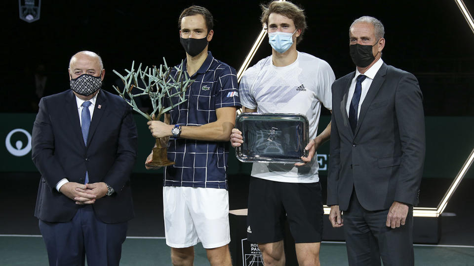 Daniil Medvedev and Alexander Zverev, pictured here after the Paris Masters final.