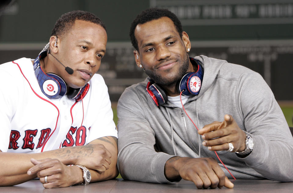 LeBron James with Dr. Dre in Red Sox headphones.