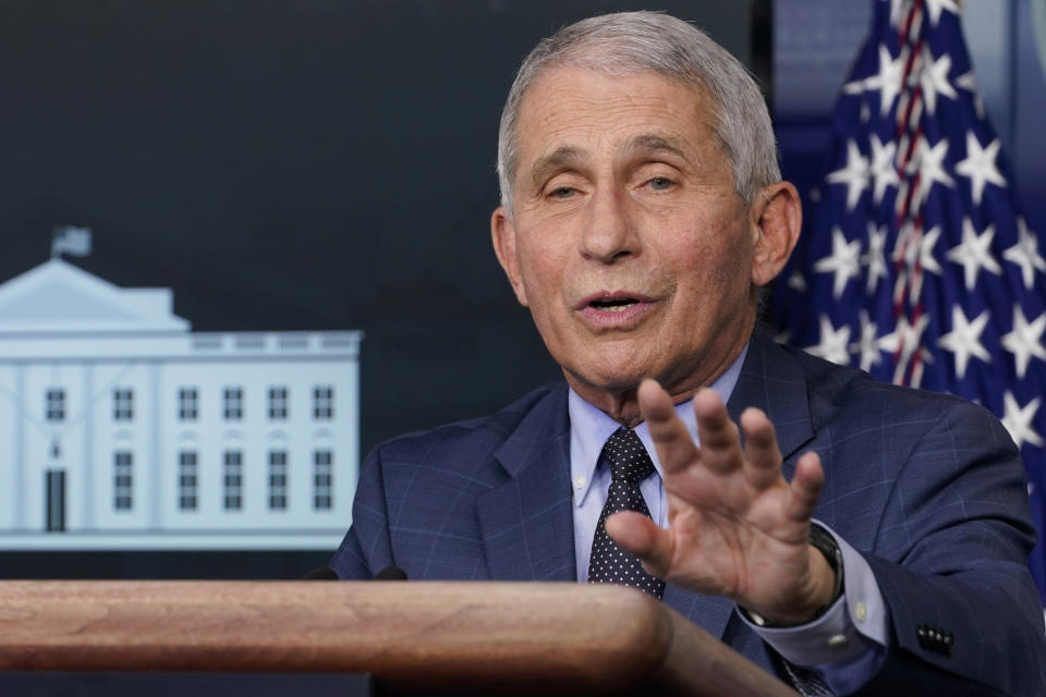 Dr. Anthony Fauci, director of the National Institute for Allergy and Infectious Diseases, speaks during a news conference with the coronavirus task force at the White House in Washington on Nov. 19, 2020. (Susan Walsh/AP)