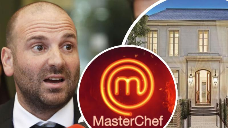 Pictured: George Calombaris, Toorak mansion, MasterChef logo.. Images: Getty, Network 10