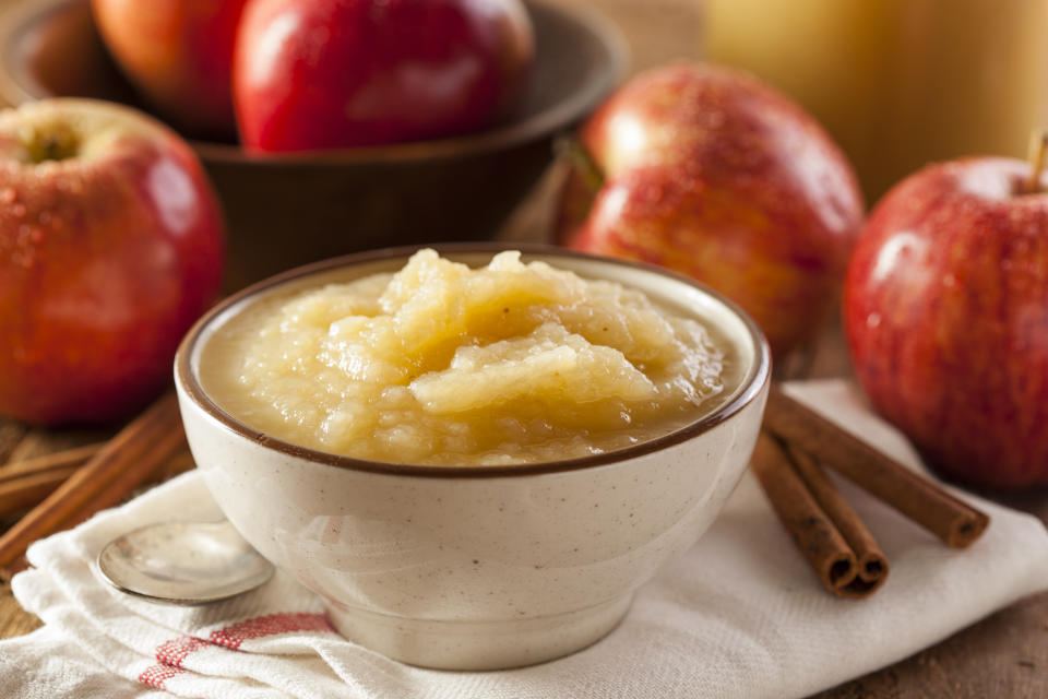 Healthy Organic Applesauce with Cinnamon in a Bowl