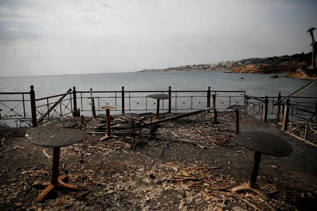 <p>Tables and chairs of a seaside cafe are seen burnt following a wildfire at the village of Mati, near Athens, Greece, July 24, 2018. (Photo: Alkis Konstantinidis/Reuters) </p>