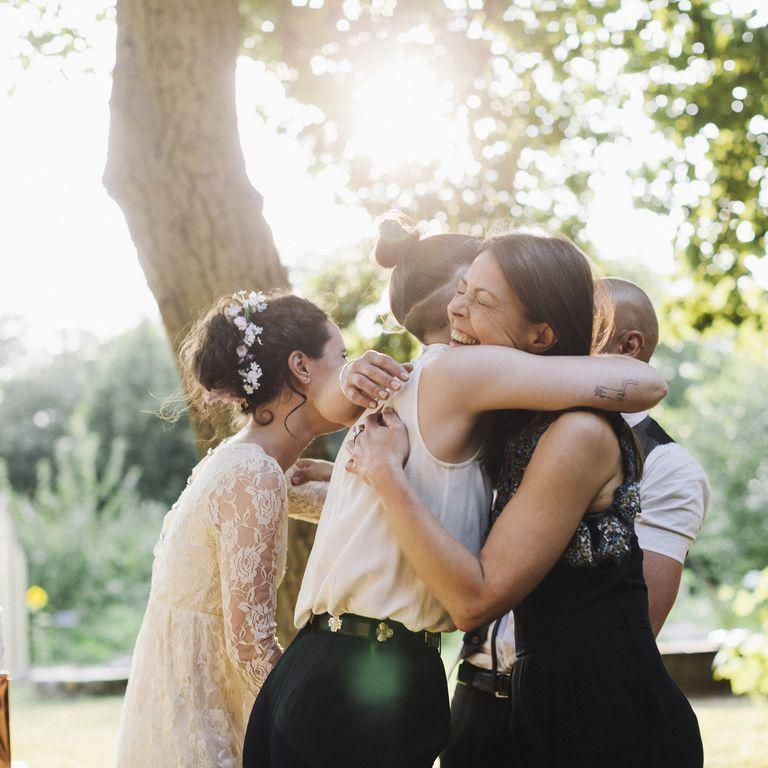 """<p>At, say, a 300-person wedding, it's not unfathomable that the happy couple wouldn't have time to speak with every guest. But it's important to at least try to say hello, goodbye, or congrats. (Except when they're enjoying their dinner, that is.) """"If a guest didn't get a moment with the couple, he or she can reach out the day after via phone or email to wish them congratulations and tell them what a lovely time they had at the wedding,"""" suggests Chertoff.</p>"""