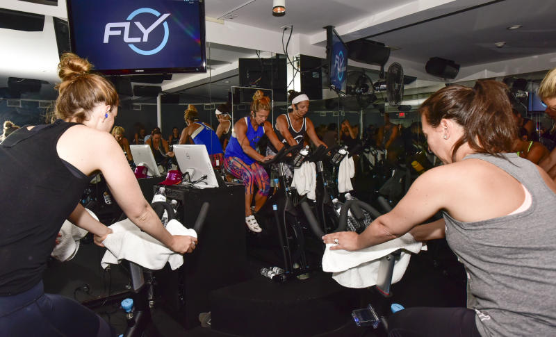 EAST HAMPTON, NY - AUGUST 08: Ashley Baker, Holly Rilinger, Ruth Zukerman, Samantha Yanks,and Gabrielle Reece attend the Flywheel VIP Ride With Special Guests Laird Hamilton And Gabrielle Reece Led By Ruth Zukerman And Holly Rilinger at Flywheel East Hampton on August 8, 2016 in East Hampton, New York. (Photo by Eugene Gologursky/Getty Images for Flywheel)