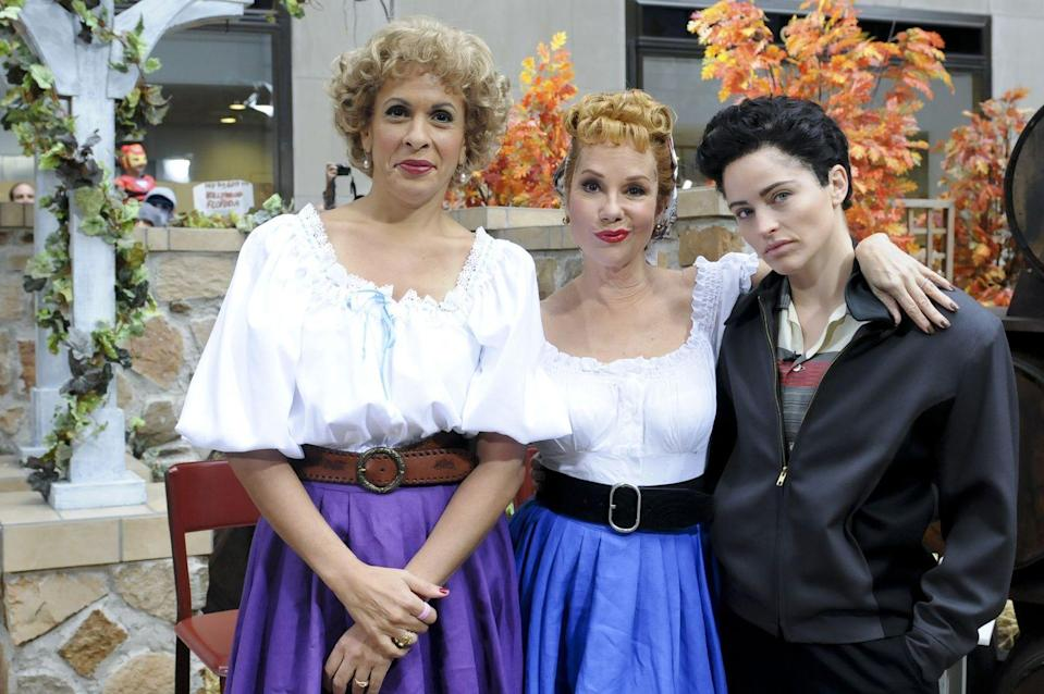 <p>And what better sitcom trio to embody than that of <em>I Love Lucy</em>? Hoda Kotb and Kathie Lee Gifford dressed up as the inseparable Vivian and Lucy, and wore a spot-on disguise to reenact that famous grape-stomping scene. Sara Haines on the other hand went the more masculine route by dressing up as Lucy's husband Ricky Ricardo. </p>