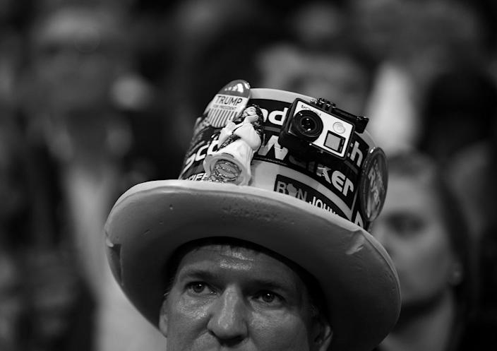 <p>Wisconsin Delegate Jim Miller listens to speakers at the Republican National Convention on Monday. (Photo: Khue Bui for Yahoo News)</p>