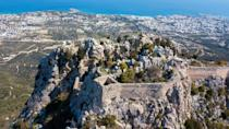 The fortress of Saint Hilarion, perched on a mountain ridge above the northern Cypriot port city of Kyrenia, in the self-proclaimed Turkish Republic of Northern Cyprus (TRNC)