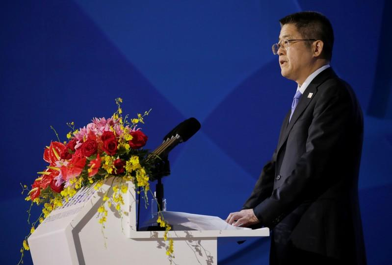 China's Vice Foreign Minister Le Yucheng speaks at the Xiangshan Forum in Beijing