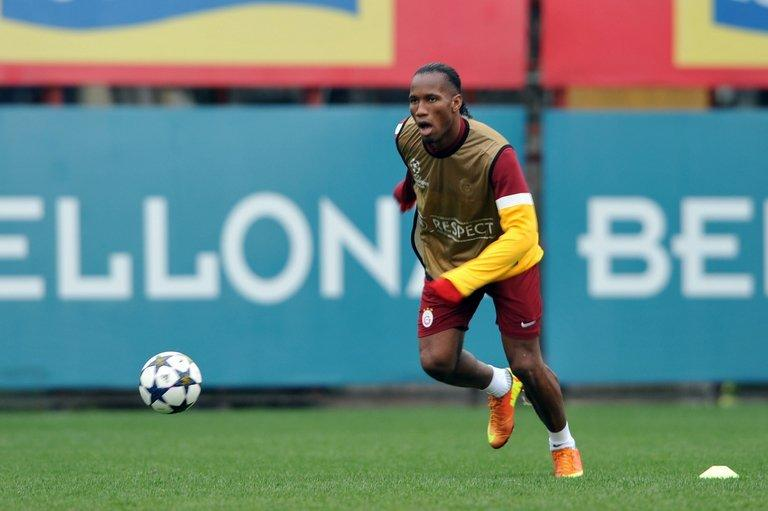 Galatasaray striker Didier Drogba during a training session on February 19, 2013, on the eve of the Champions League clash with Schalke. The Turkish side finished their Group H campaign with wins over Cluj, Manchester United and Braga