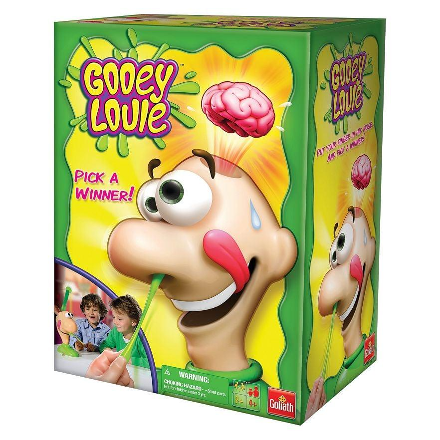 """<p>File this one under gross toys that kids love and parents just cringe at. <a href=""""https://www.popsugar.com/buy/Gooey-Louie-93305?p_name=Gooey%20Louie&retailer=target.com&pid=93305&price=16&evar1=moms%3Aus&evar9=25895292&evar98=https%3A%2F%2Fwww.popsugar.com%2Fphoto-gallery%2F25895292%2Fimage%2F32384607%2FGooey-Louie&list1=gifts%2Choliday%2Ctoys%2Cgift%20guide%2Cgifts%20for%20kids%2Ckid%20shopping%2Choliday%20living%2Choliday%20for%20kids%2Cgifts%20for%20toddlers&prop13=api&pdata=1"""" rel=""""nofollow"""" data-shoppable-link=""""1"""" target=""""_blank"""" title=""""Gooey Louie Game"""" class=""""ga-track"""" data-ga-category=""""Related"""" data-ga-label=""""https://www.target.com/p/gooey-louie-game/-/A-14616904"""" data-ga-action=""""In-Line Links"""">Gooey Louie</a> ($16) has kids pick things out of Louie's nose in hopes of finding the right object. If the wrong one's picked, Louie goes a bit crazy!</p>"""