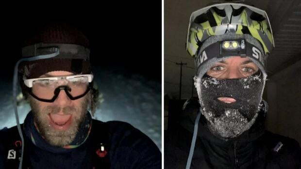 Davis did selfies along his various routes, even when he was skiing and cycling in the dark.