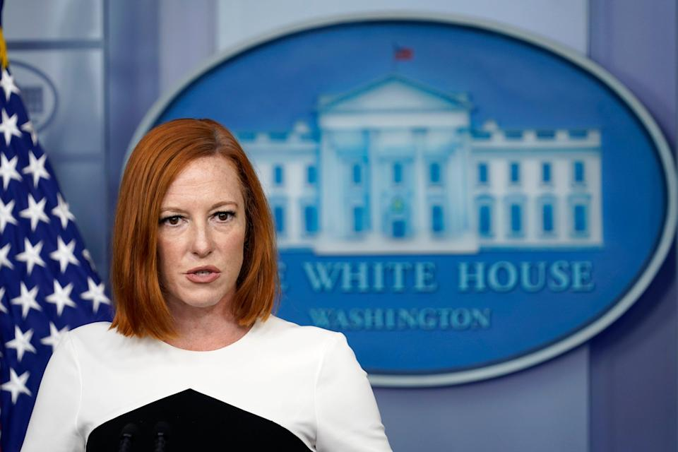 White House press secretary Jen Psaki speaks during the daily briefing at the White House in Washington (Copyright 2021 The Associated Press. All rights reserved.)