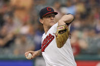 Cleveland Indians starting pitcher Zach Plesac delivers in the first inning of the team's baseball game against the Tampa Bay Rays, Friday, July 23, 2021, in Cleveland. (AP Photo/Tony Dejak)
