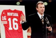 FILE PHOTO: THE 49ER GREAT JOE MONTANA HAS JERSEY RETIRED DURING HALF-TIME