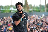 <p>In the earlier days of his career, like during the Coachella Music Festival shown here, The Weeknd wore his hair in a short 'fro.</p>