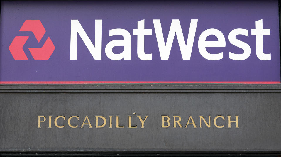 LONDON, UNITED KINGDOM - 2020/06/04: NatWest Bank logo seen one at their Piccadilly branch. (Photo by Dave Rushen/SOPA Images/LightRocket via Getty Images)