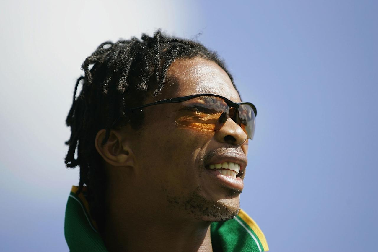 PORT ELIZABETH, SOUTH AFRICA - DECEMBER 15:  Makhaya Ntini of South Africa looks on during South Africa nets practice at St. Georges Park Cricket Ground on December 15, 2004 in Port Elizabeth, South Africa. (Photo by Paul Gilham/Getty Images)