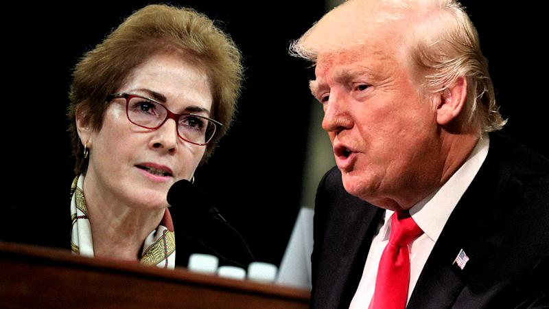 Marie Yovanovitch, former U.S. ambassador to Ukraine and President Donald Trump. (Photo illustration: Yahoo News; photos: Jonathan Ernst/Reuters, AP)
